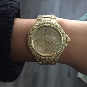 Gold Michael Kors pave diamond watch